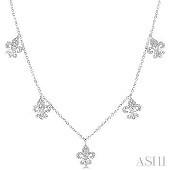 DIAMOND FLEUR DE LIS STATION NECKLACE